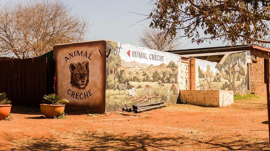Entrada al recinto de animales exóticos, dentro de la reserva. Foto: colectivobritches.com