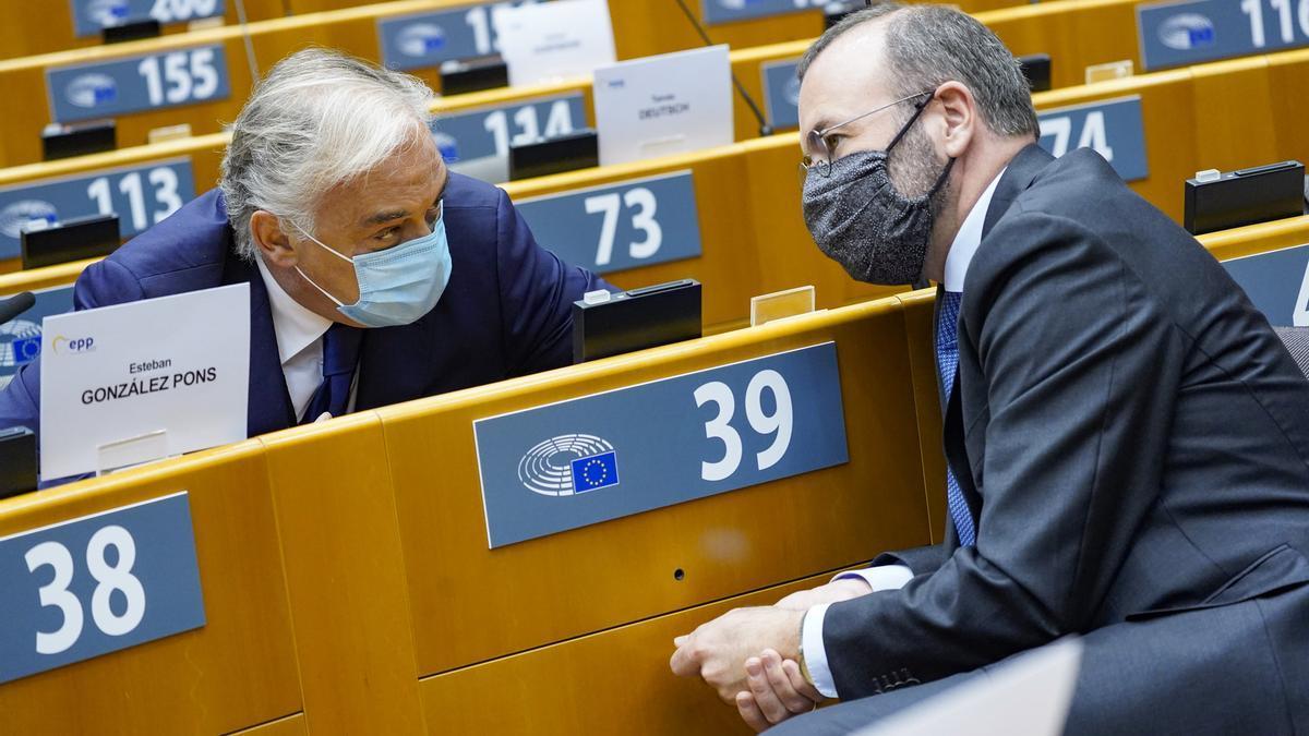 Esteban González Pons y Manfred Weber, en la sede del Parlamento Europeo en Bruselas.