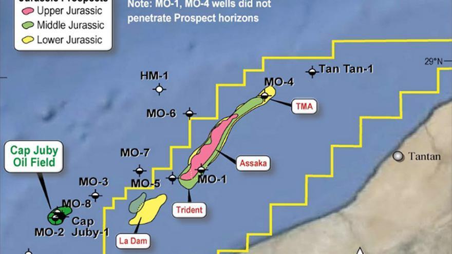 Mapa de las exploraciones realizadas por Tangiers Petroleum en Tarfaya (http://www.tangierspetroleum.com).
