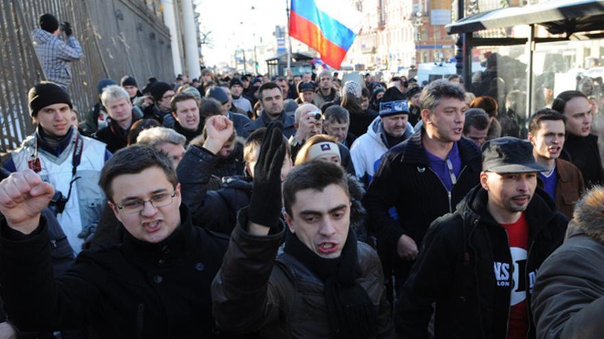 Protesta a favor del derecho a manifestarse en público, San Petersburgo, Rusia, 31 de marzo 2011 © Yury Goldenshteyn/Demotix
