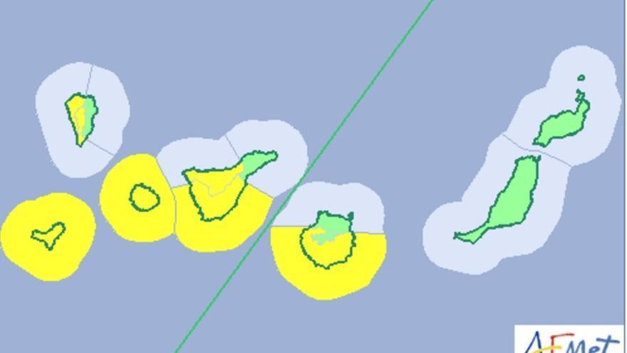 Mapa del aviso de riesgo por viento y oleaje de la Aamet.