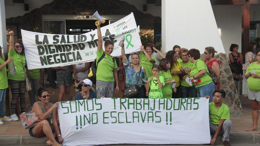 Protesta de las Kellys en un hotel de Lanzarote, en una imagen de archivo