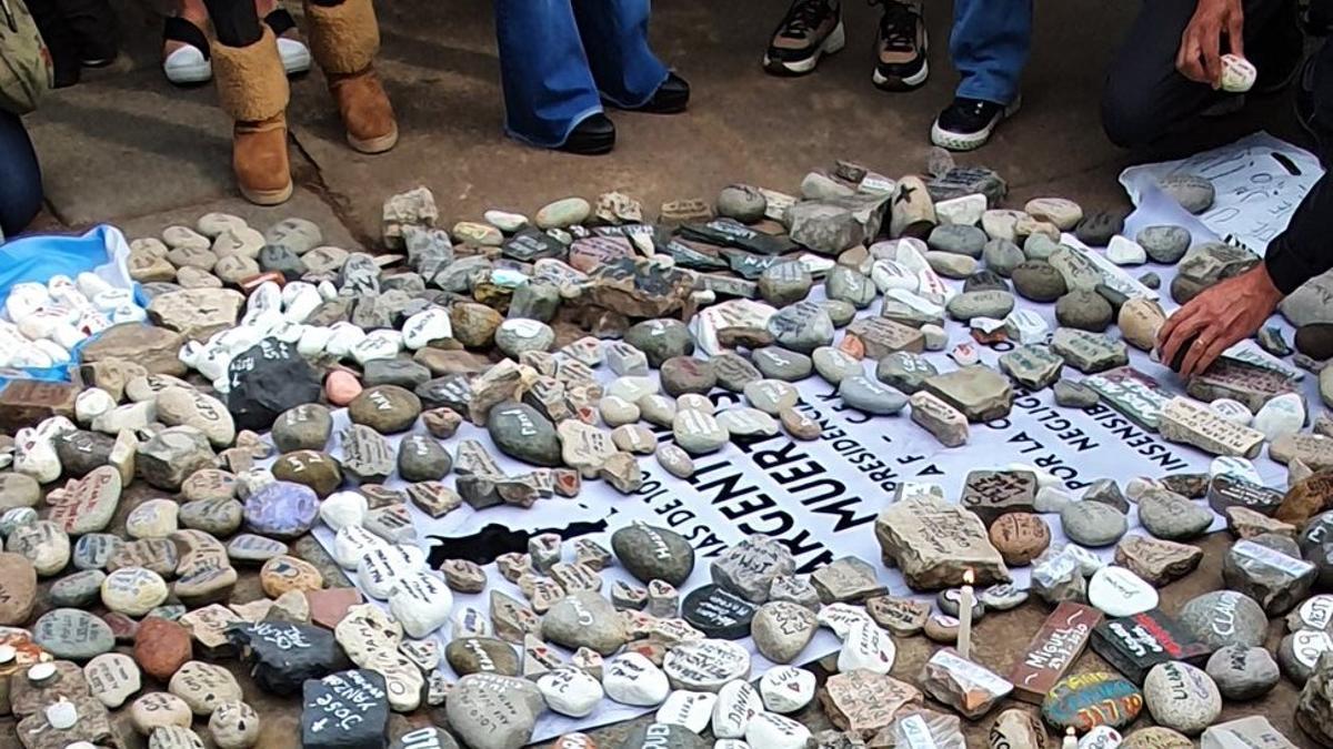 Una piedra por cada víctima mortal del Covid-19 en la Argentina.