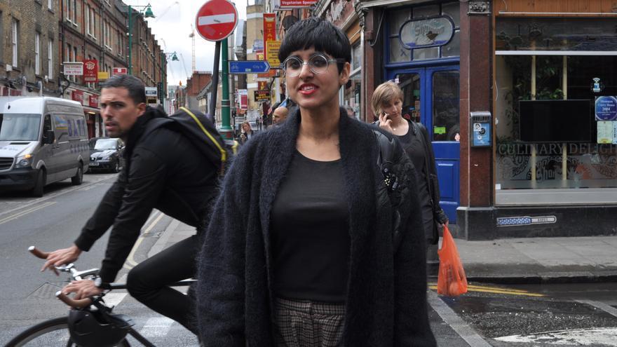 Una votante de los verdes en el distrito londinense de Brick Lane. Foto: Maruxa Ruiz del Árbol.