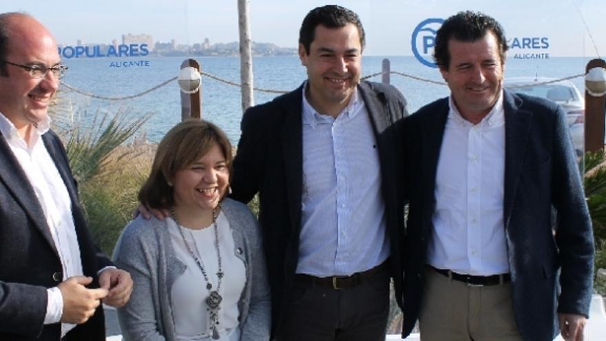 Isabel Bonig, junto a Pedro Sánchez, Juanma López y José Císcar