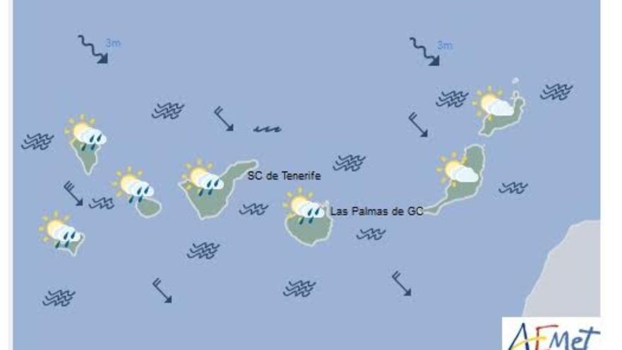 Mapa con la previsión del tiempo para este domingo, 4 de diciembre