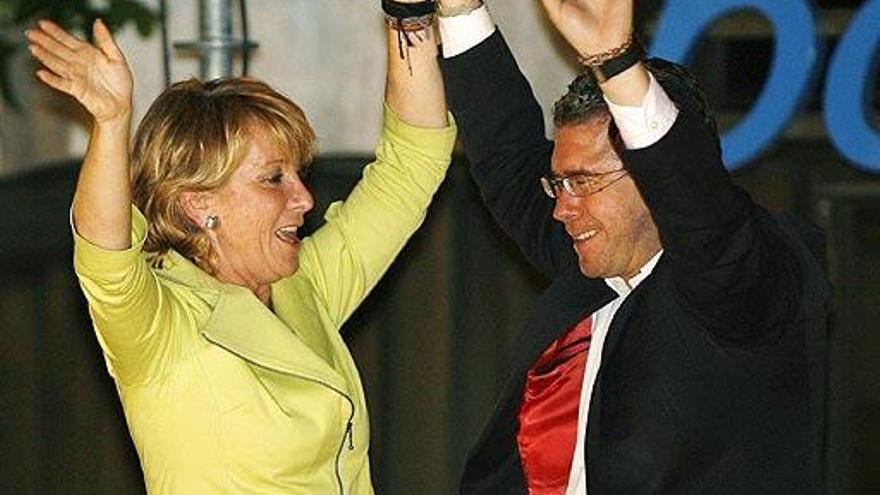 Aguirre y Granados, presidenta y ex secretario general del PP Madrid.