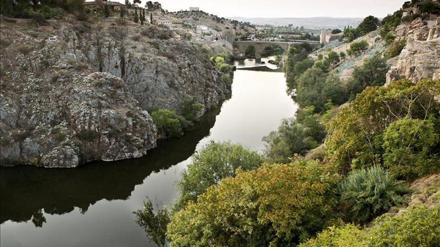 El río Tajo a su paso por el casco histórico y el puente de San Martín, en Toledo.