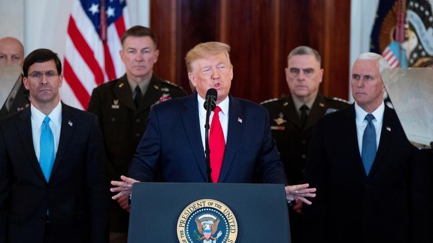 Donald Trump durante la comparecencia de este miércoles en respuesta a los ataques iraníes.