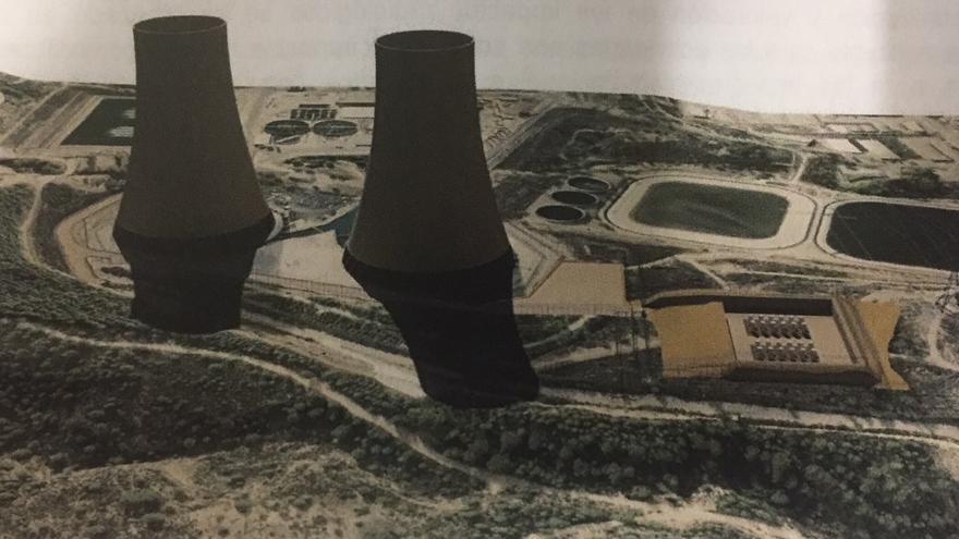 Imagen virtual del almacén de residuos nucleares a la derecha de las chimeneas