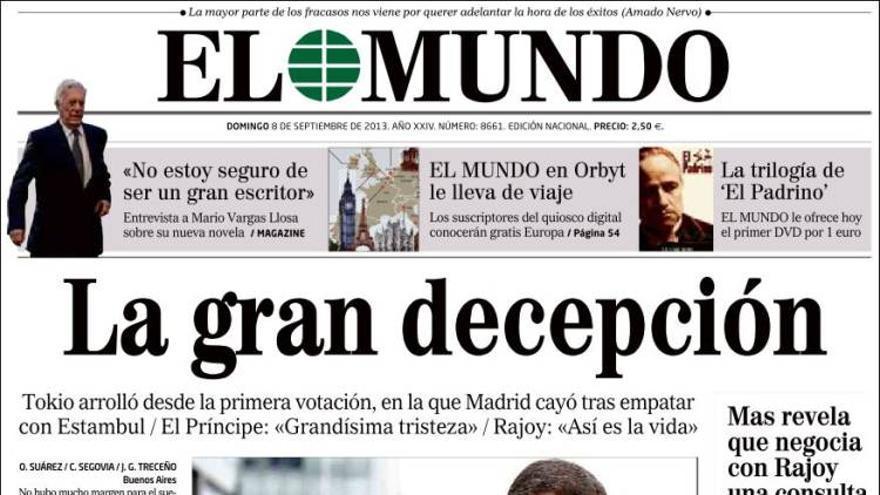 'La gran decepción'. La portada de El Mundo tras la derrota de Madrid 2020. Fuente: Kiosco.net