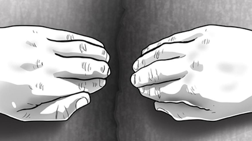 Imagen 10. Colocación de las manos en una fisura ciega.