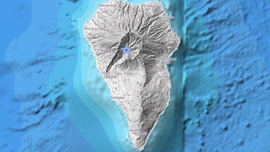 Imagen del IGN donde se indica con un círculo el lugar exacto donde se ha localizado el movimiento sísmico este martes en el Parque Nacional de La Caldera de Taburiente.