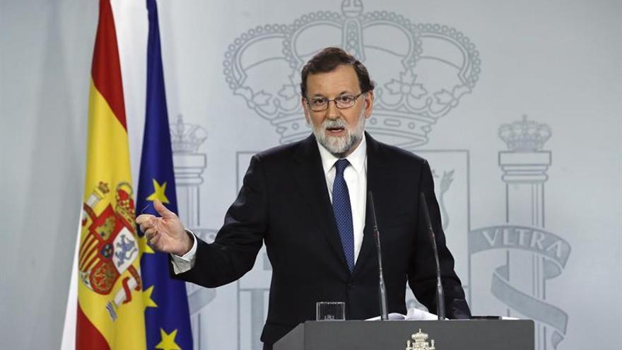 Mariano Rajoy durant la seva compareixença per explicar l'aplicació de l'article 155