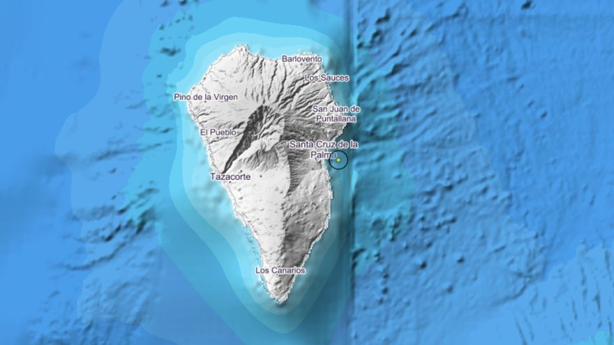 Mapa del IGN donde se indica el lugar donde se ha registrado el pequeño terremoto en la madrugada de este domingo, 26 de enero, frente a la costa de Santa Cruz de La Palma.
