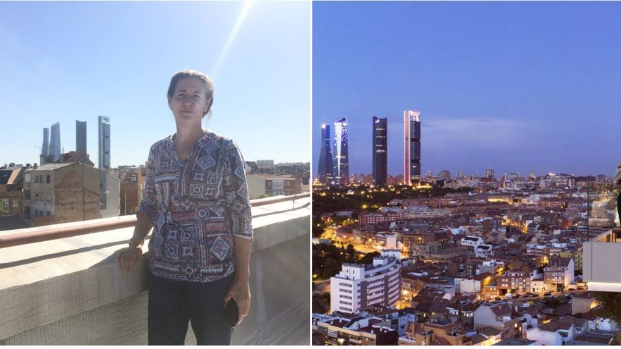 Marisa en su azotea. A la izquierda, el rénder de las torres Skyline de Touza.