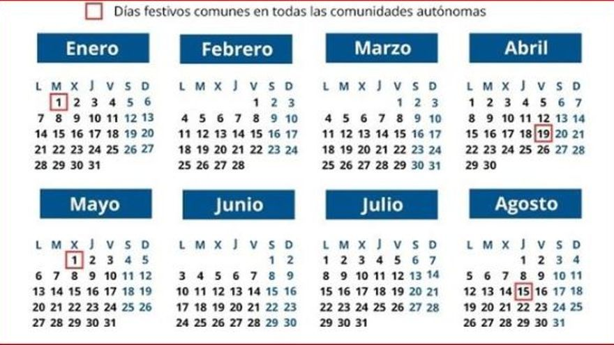 Calendario Laboral Elche.El Calendario Laboral De 2019 Recoge 12 Dias Festivos Solo 8