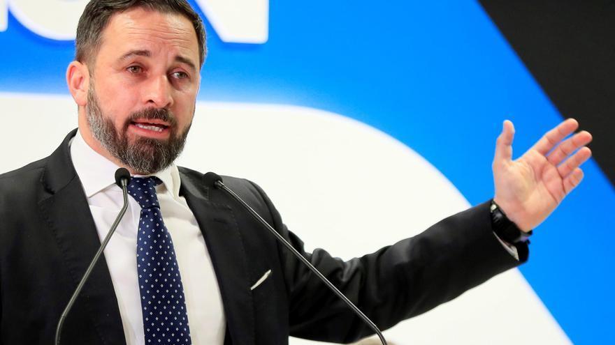 El presidente de Vox, Santiago Abascal, durante su intervención en un debate organizado por el diario La Razón, este lunes en Madrid.