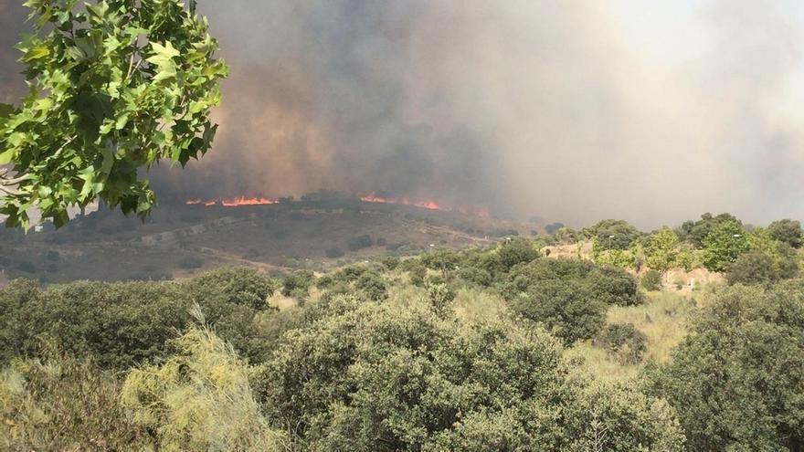Imagen del incendio originado ayer en Toledo