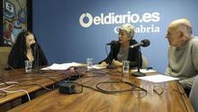 Patricia Manrique, Ángeles Cabria y Roberto Ruisánchez durante la grabación del podcast.