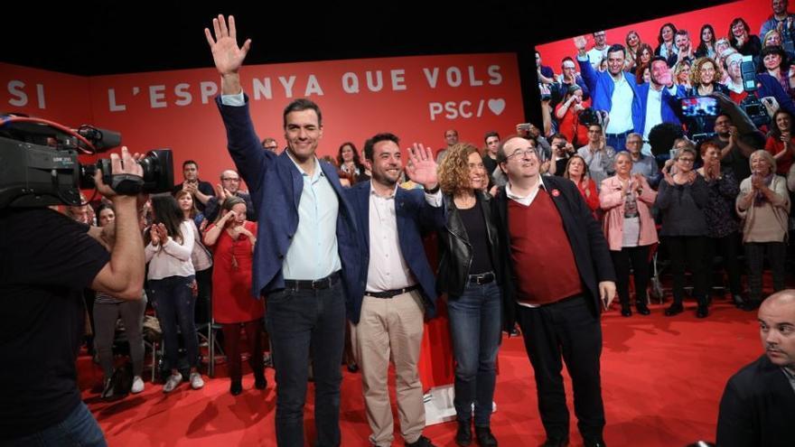 Sánchez, en un acto de campaña este jueves.
