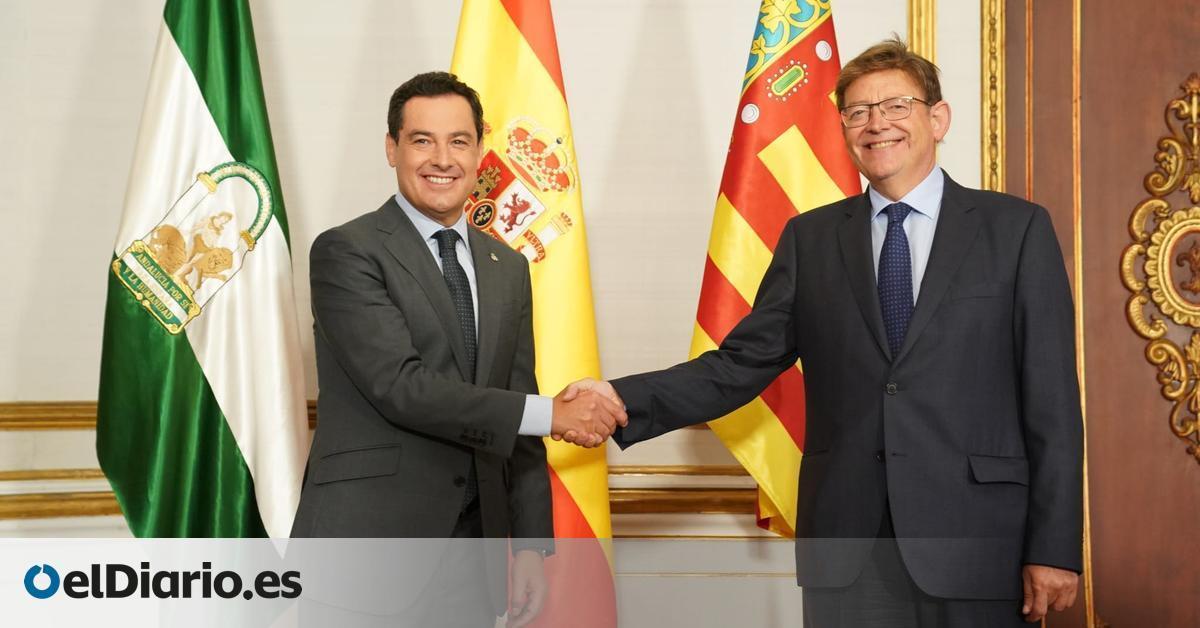 Moreno y Puig sellan una alianza al margen de PP y PSOE para mejorar la financiación de Andalucía y Valencia
