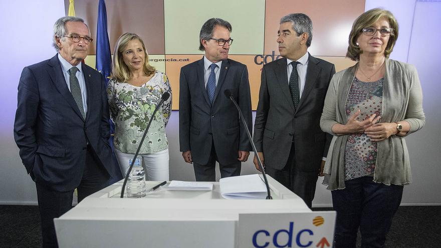 Artur Mas, Francesc Homs, Irene Rigau, Joana Ortega i Xavier Trias, en roda de premsa