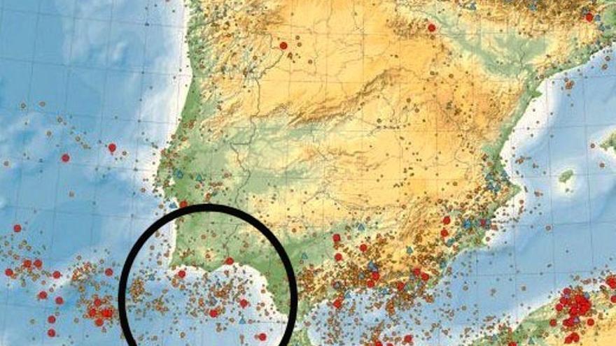 Mapa sísmico que aporta el estudio, con especial incidencia en el Golfo de Cádiz y su entorno.