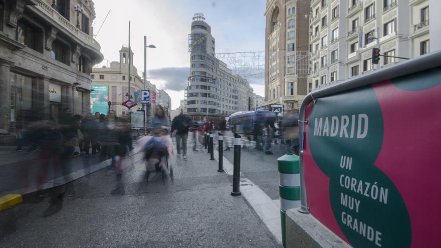 Gran Vía de Madrid con los cortes de carril
