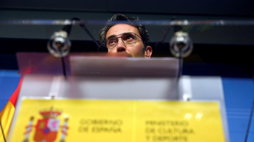 Màxim Huerta durante la comparecencia en la que anunció su dimisión como ministro de Cultura.