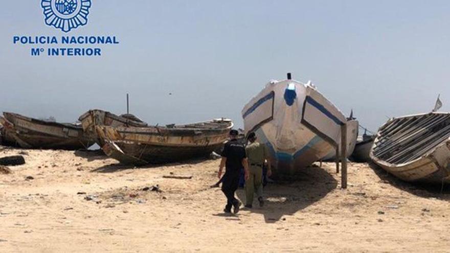 Imagen cedida por la Policía Nacional en la costa mauritana.