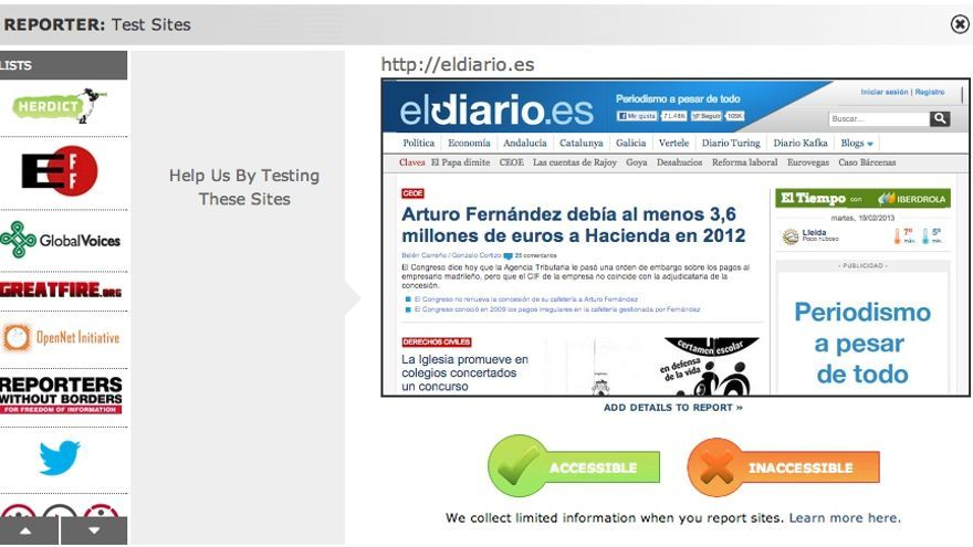 Herdict, reporte para Eldiario.es