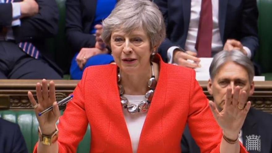 Theresa May durante el debate del Brexit.