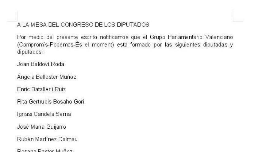 Escrito tuiteado por Compromís para el grupo propio de la confluencia valenciana en el Congreso.