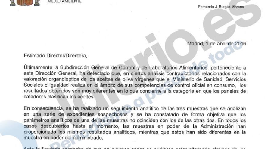 La carta enviada a las comunidades autónomas que alerta de un posible fraude