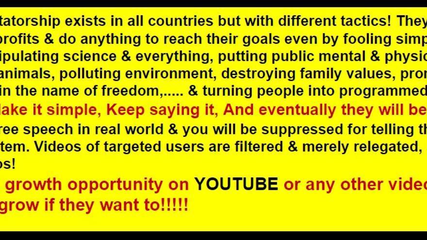Un mensaje de Nasim Aghdam en su página web donde insinúa que no existe libertad de expresión en YouTube