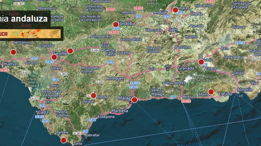 Mapa interactivo de los yacimientos arqueológicos romanos en Andalucía.