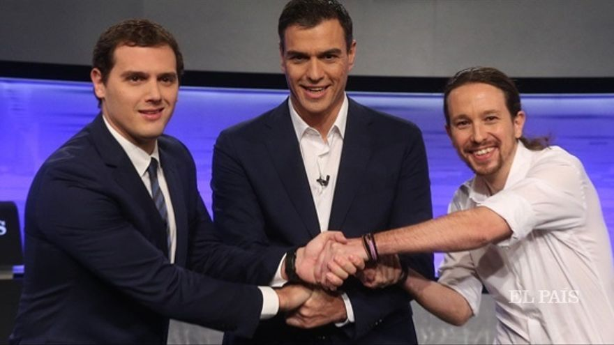 Sánchez, Iglesias y Rivera durante uno de los debates de la reciente campaña.