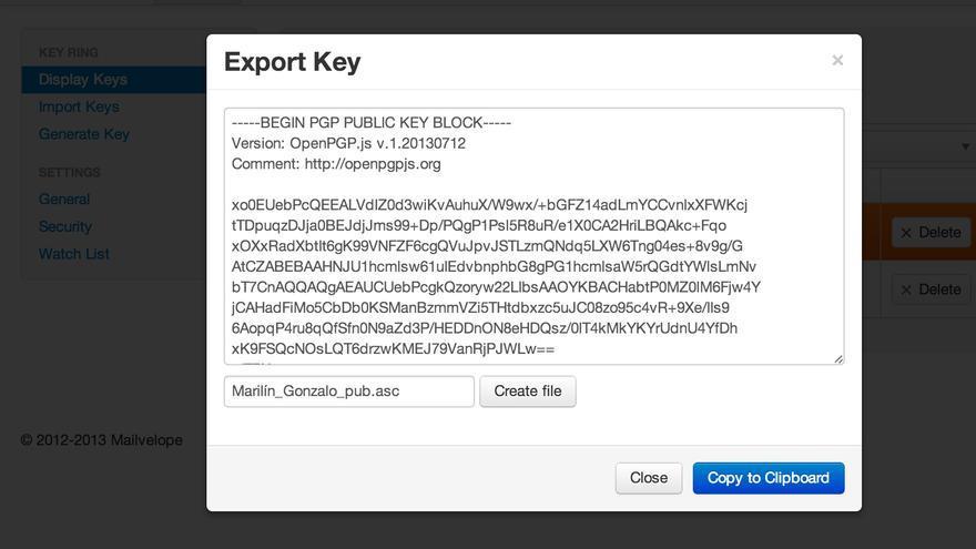 Mailvelope - Export key