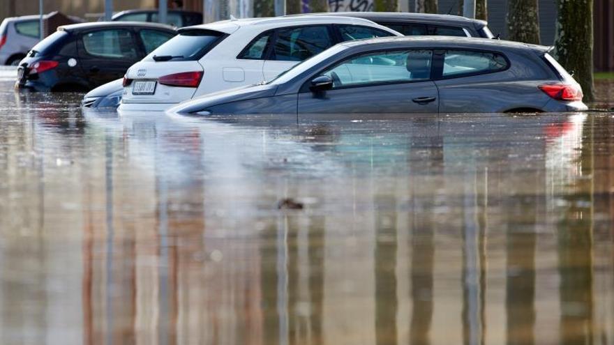 """El río Ter se ha desbordado esta tarde en el barrio de Sant Ponç de la ciudad de Girona, tras los efectos meteorológicos del temporal """"Gloria""""."""