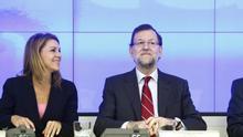Cospedal y Rajoy, en la última reunión de la dirección con los barones del PP.