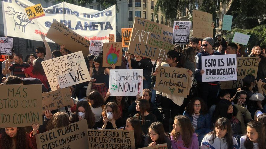 Manifestación de jóvenes contra el cambio climático en Madrid el 1 de marzo de 2019 / B.R.