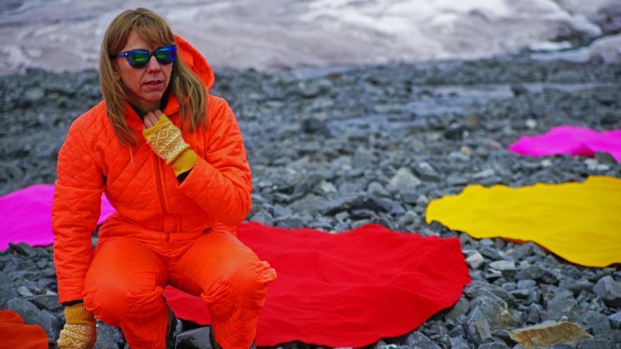 Andrea Juan en una de sus expediciones a la Antártida.