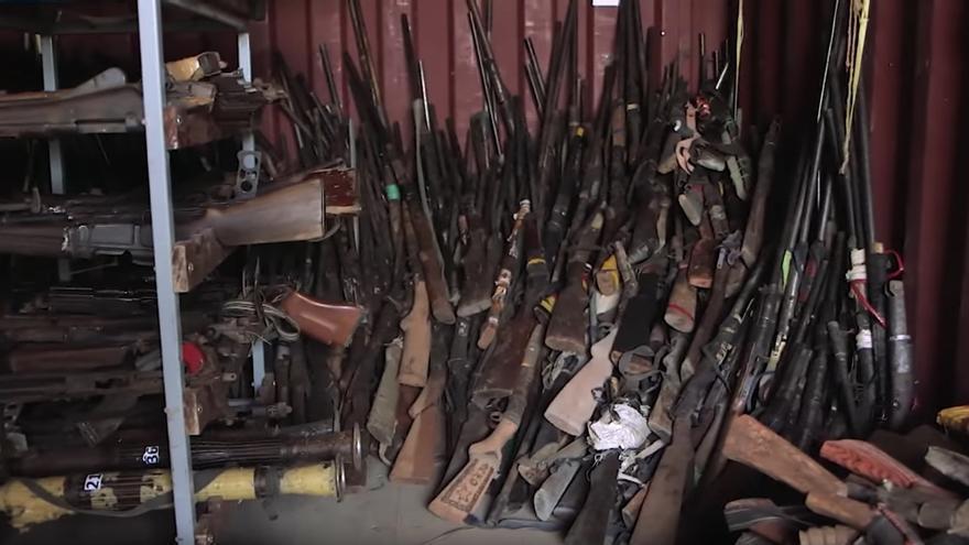 Un depósito de armas entregadas a la misión de paz de la ONU
