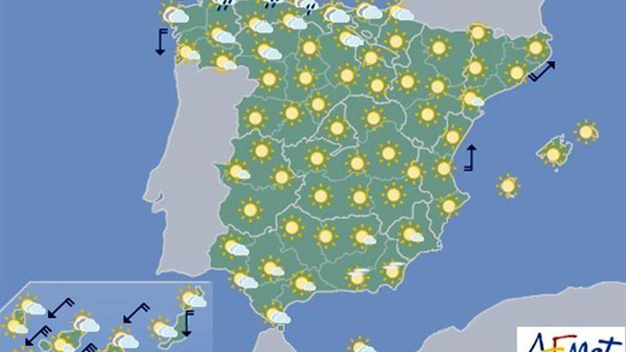 Nubes y lluvias en el Cantábrico y temperaturas muy altas en el Mediterráneo