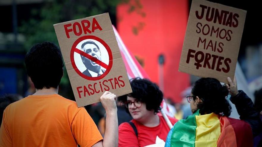 Manifestación contra la candidatura de Jair Bolsonaro.