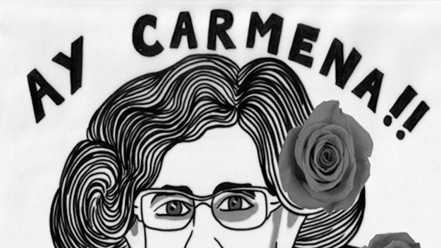 Un dibujo de la candidata Manuela Carmena.