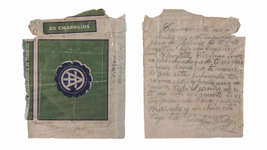 La cajetilla de tabaco en la que Vicente Verdejo escribió su despedida.