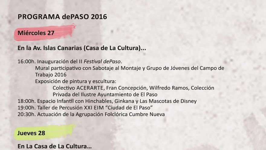 Programa de la segunda edición del festival de la creatividad 'dePaso 2016'.