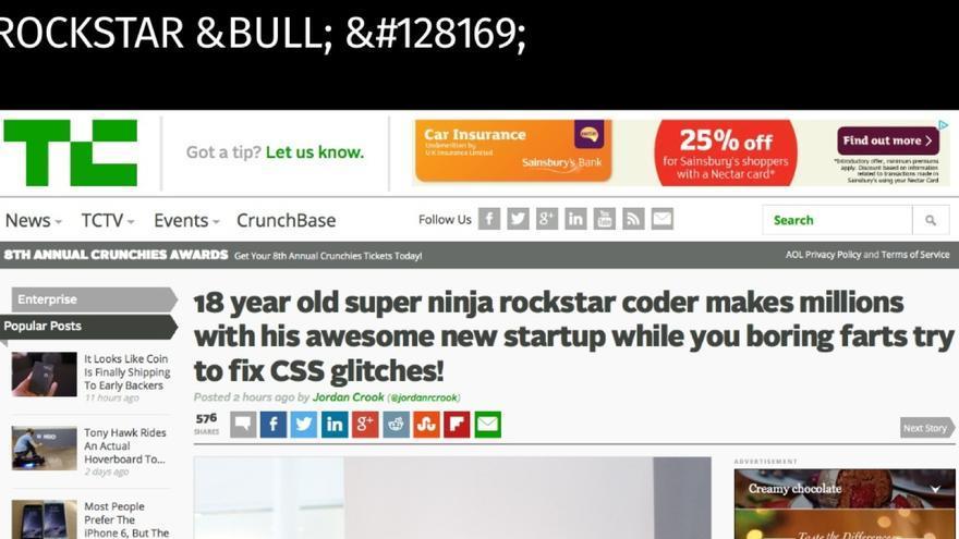 Podría ser una captura de pantalla de Techcrunch de verdad, pero es broma (y la usó Heilmann en su charla)